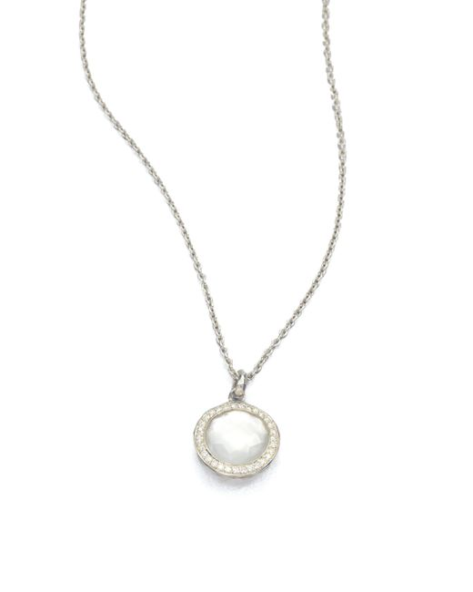 Ippolita | Metallic Stella Mother-of-pearl, Clear Quartz, Diamond & Sterling Silver Lollipop Doublet Pendant Necklac | Lyst
