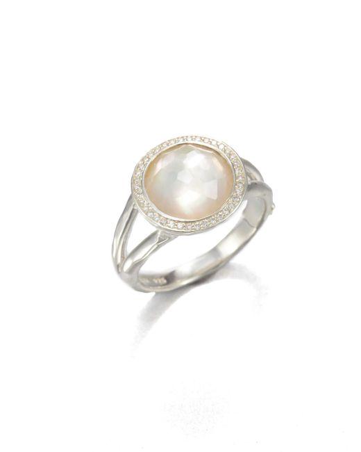 Ippolita | White Stella Mother-of-pearl, Clear Quartz, Diamond & Sterling Silver Mini Lollipop Ring | Lyst