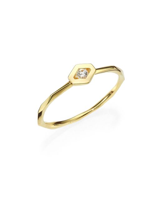 Ron Hami | Metallic Rain Diamond & 18k Yellow Gold Hexagon Boutique Ring | Lyst