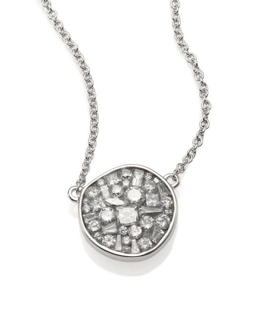 Plevé | Ice Diamond & 18k White Gold Pebble Pendant Necklace | Lyst