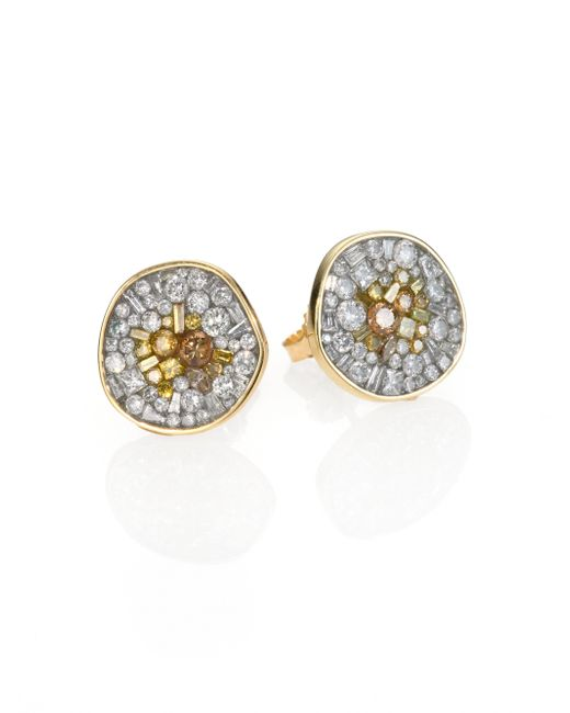 Plevé | Metallic Sunburst Diamond & 18k Yellow Gold Pebble Button Earrings | Lyst