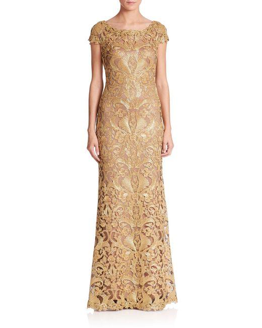 Tadashi Shoji | Metallic Embroidered Lace Gown | Lyst