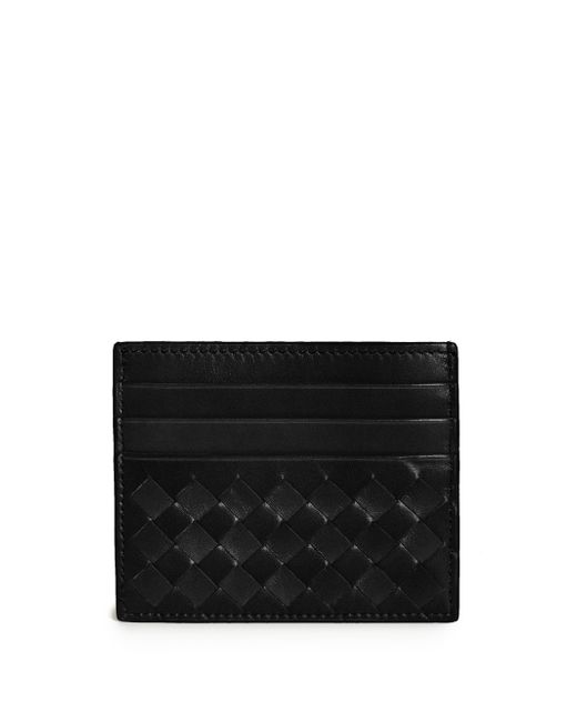 Bottega Veneta | Black Woven Flat Card Case | Lyst