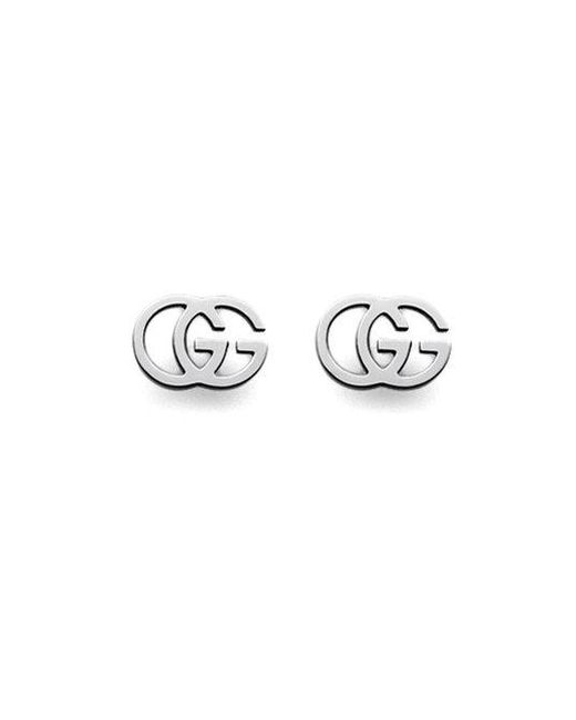 Gucci - Metallic 18k White Gold Double G Earrings - Lyst
