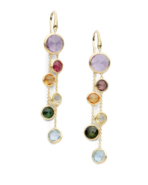 Marco Bicego | Metallic Jaipur Semi-precious Multi-stone & 18k Yellow Gold Drop Two-strand Drop Earrings | Lyst
