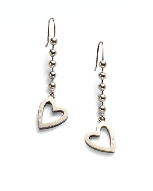 Gucci | Metallic Sterling Silver Heart Drop Earrings | Lyst