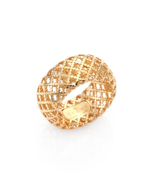 Gucci | Metallic Diamantissima 18k Yellow Gold Band Ring | Lyst