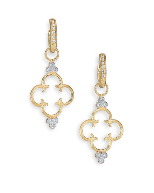 Jude Frances | Metallic Classic Diamond & 18k Yellow Gold Clover Charm Earring Charms | Lyst