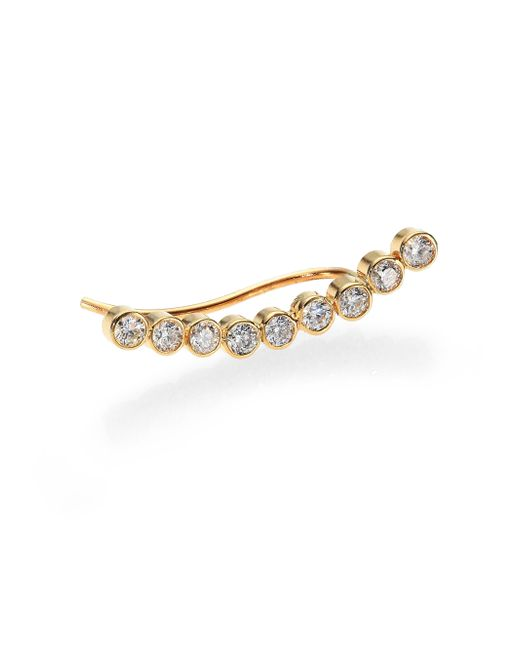 Zoe Chicco | Metallic Diamond & 14k Yellow Gold Nine-bezel Shield Single Ear Cuff | Lyst