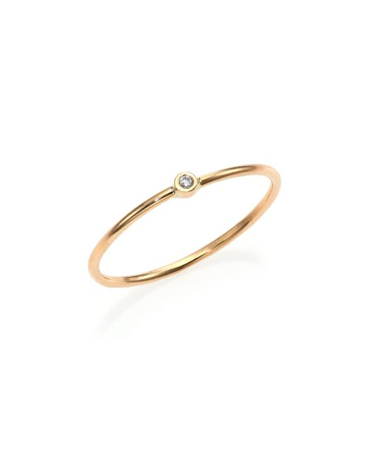 Zoe Chicco | Metallic Diamond & 14k Yellow Gold Solitaire Stacking Ring | Lyst