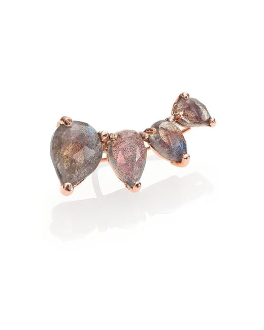 Jacquie Aiche | Pink Labradorite & 14k Rose Gold Graduated Single Ear Cuff | Lyst