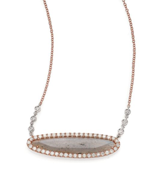Meira T | Pink Labradorite, Diamond & 14k Rose Gold Oval Pendant Necklace | Lyst