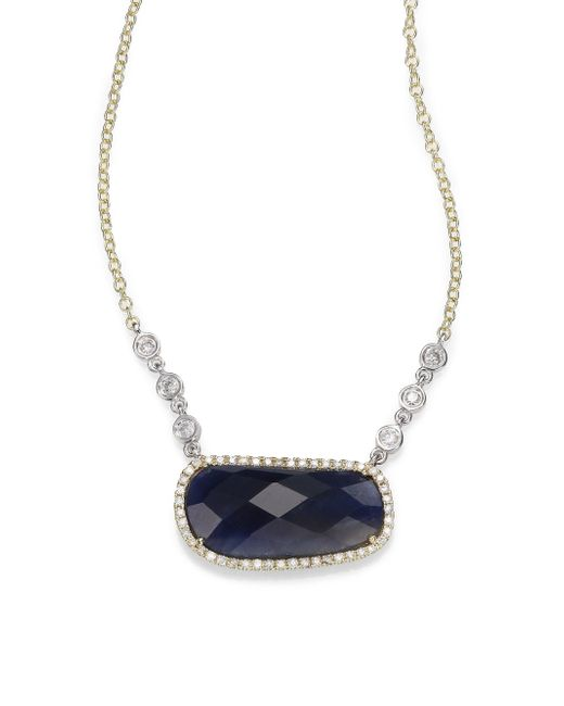 Meira T | Metallic Sapphire, Diamond & 14k Yellow Gold Pendant Necklace | Lyst