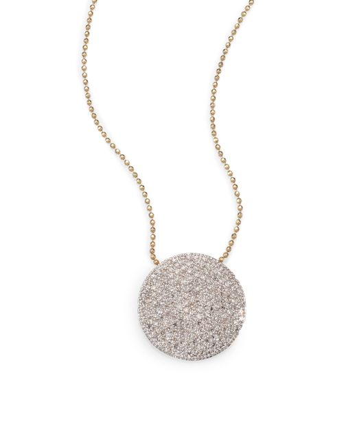 Phillips House | Metallic Pave Diamond & 14k Yellow Gold Infinity Disc Pendant Necklace | Lyst