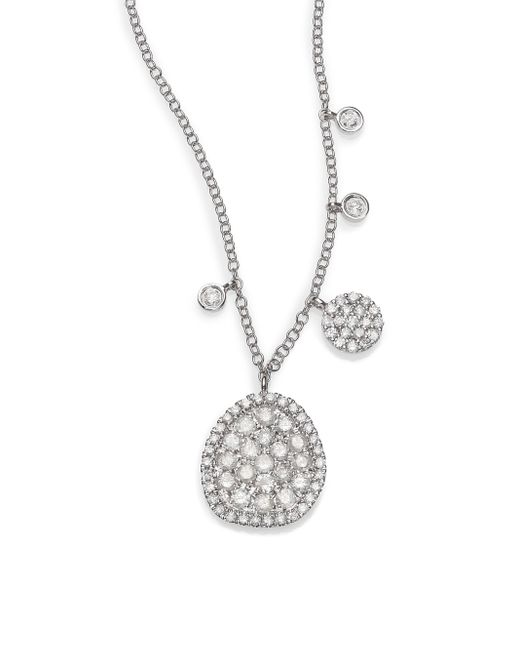Meira T | Diamond & 14k White Gold Ice Disc Necklace | Lyst