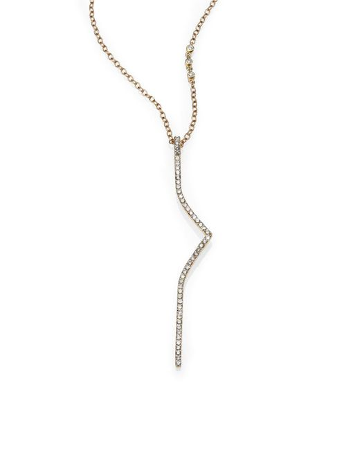 Phyne By Paige Novick | Metallic Elisabeth Diamond & 14k Yellow Gold Curved Bar Necklace | Lyst