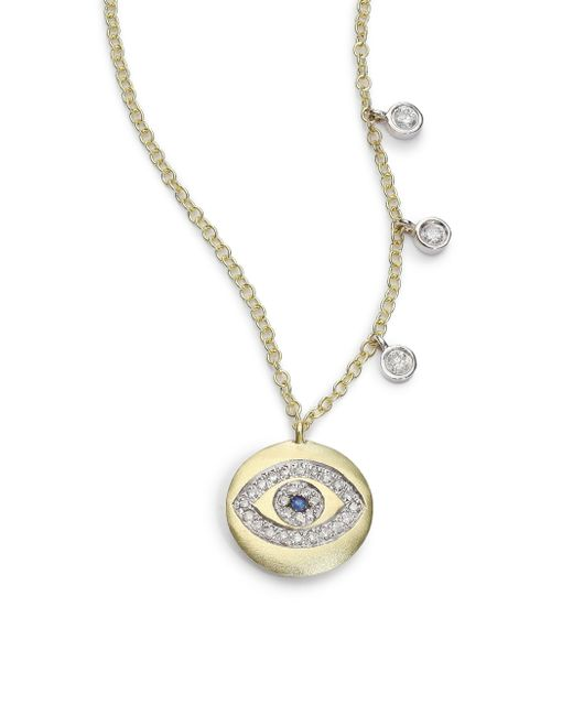 Meira T | Metallic Sapphire, Diamond & 14k Yellow Gold Evil Eye Disc Charm Necklace | Lyst