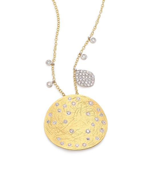 Meira T | Metallic Diamond, 14k Yellow & White Gold Disc Pendant Necklace | Lyst