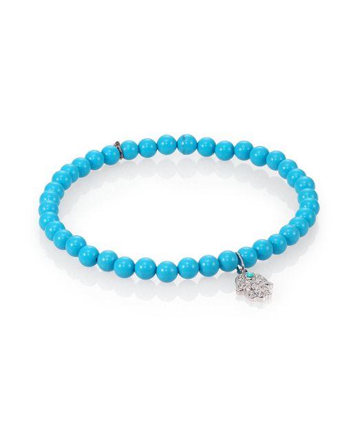 Sydney Evan | Blue Diamond, Turquoise & 14k White Gold Hamsa Beaded Stretch Bracelet | Lyst