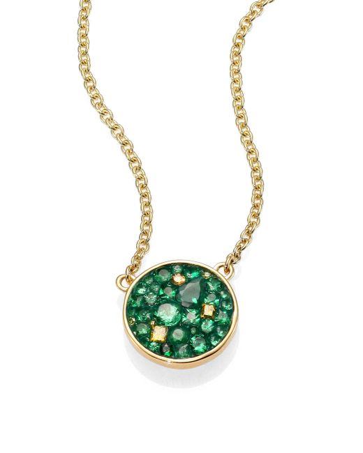 Plevé | Green Verde Tsavorite, Diamond & 18k Yellow Gold Disc Pendant Necklace | Lyst