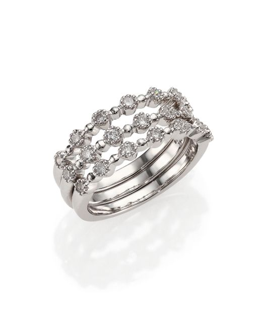 Kwiat | Stardust Diamond & 18k White Gold Stacking Ring Set | Lyst