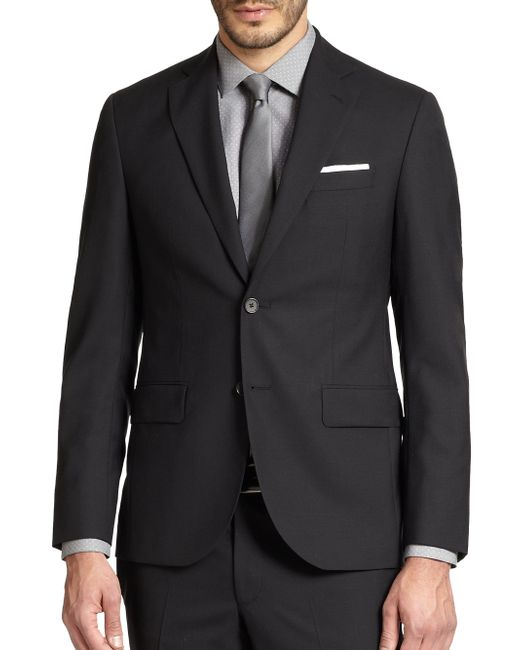 Saks Fifth Avenue | Black Modern-fit Wool Sportcoat for Men | Lyst