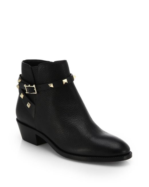 Valentino | Black Rockstud Pebbled Leather Biker Ankle Boots | Lyst