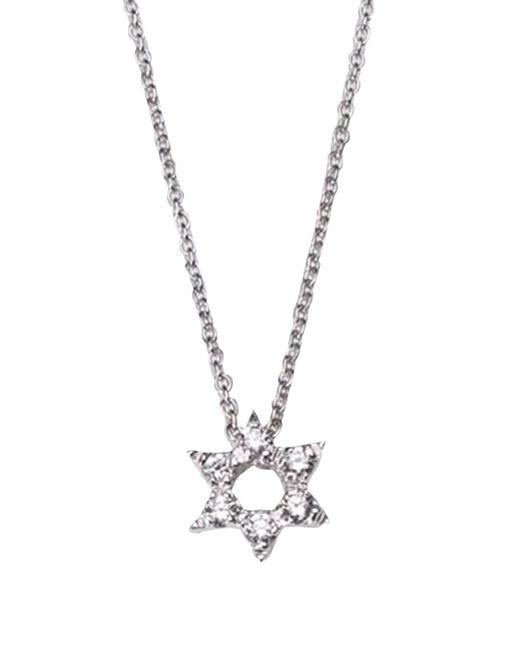 Roberto Coin | Tiny Treasures Diamond & 18k White Gold Star Of David Necklace | Lyst