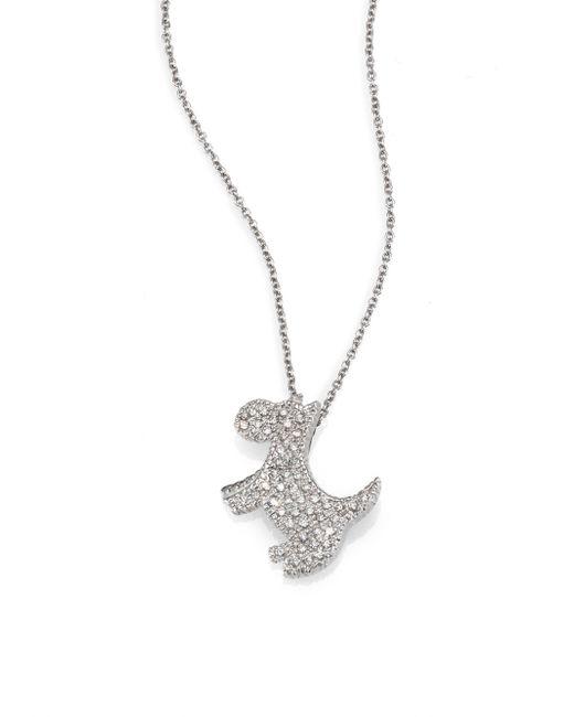 Roberto Coin | Metallic Tiny Treasures Diamond & 18k White Gold Scotty Necklace | Lyst