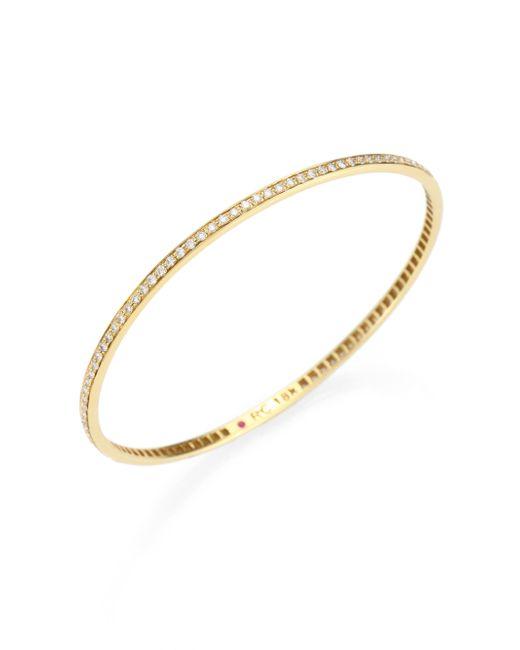 Roberto Coin | Metallic Diamond & 18k Yellow Gold Bangle Bracelet | Lyst