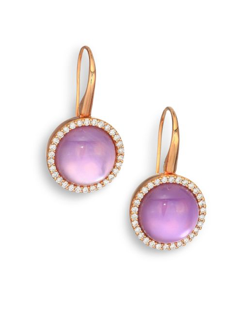 Roberto Coin   Metallic Cocktail Amethyst, Mother-of-pearl, Diamond & 18k Rose Gold Drop Earrings   Lyst