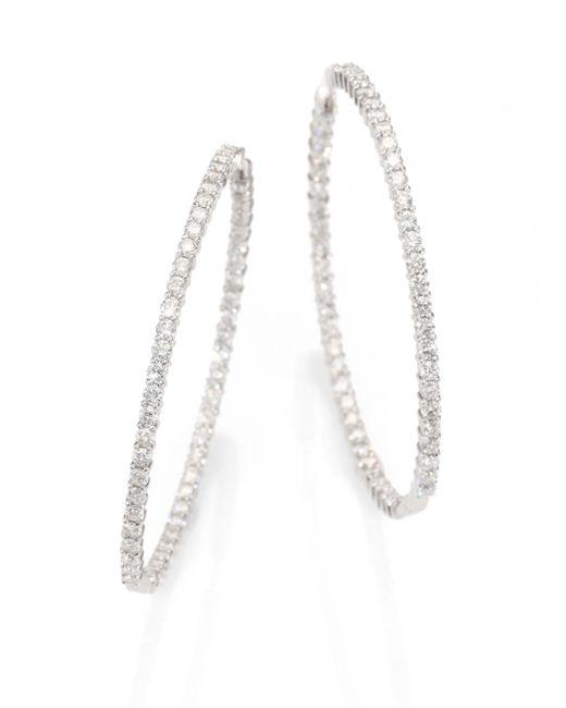 Roberto Coin | Metallic Diamond & 18k White Gold Inside-outside Hoop Earrings/2.5 | Lyst