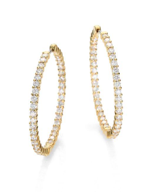 Roberto Coin | Metallic Diamond & 18k Yellow Gold Hoop Earrings/2.5 | Lyst