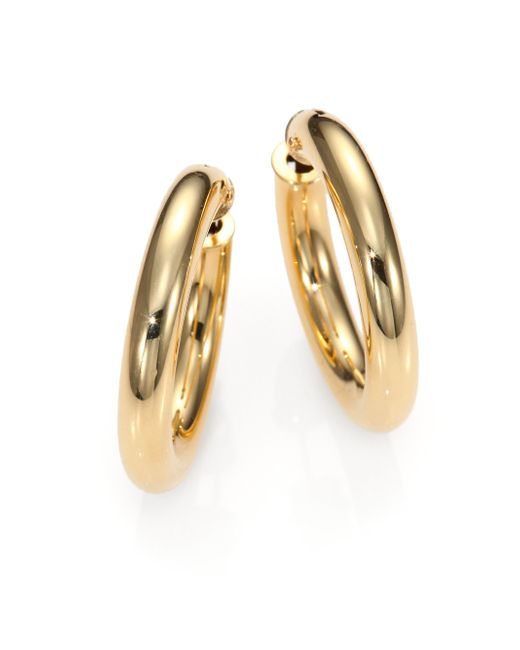 Roberto Coin | Metallic 18k Yellow Gold Hoop Earrings/1 | Lyst