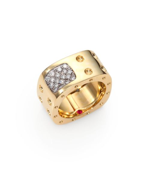 Roberto Coin | Pois Moi Diamond & 18k Yellow Gold Two-row Square Ring | Lyst