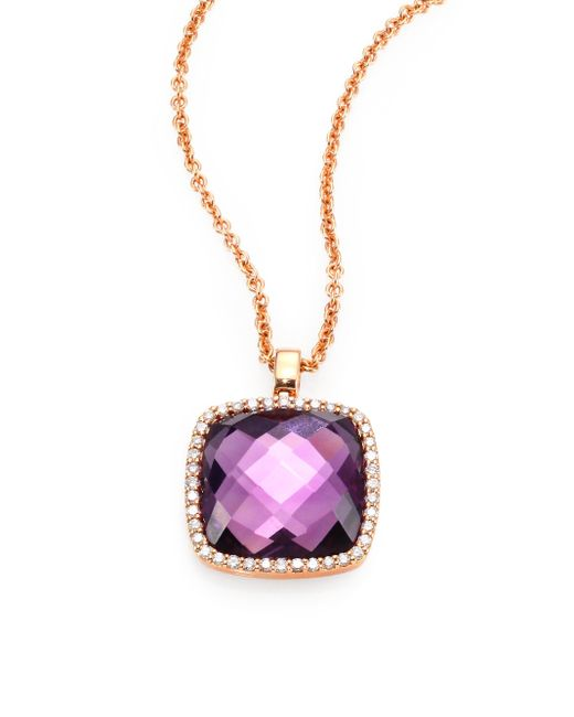 Roberto Coin | Purple Cocktail Amethyst, Diamond & 18k Rose Gold Pendant Necklace | Lyst