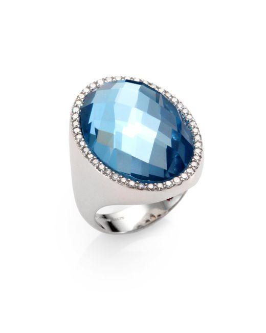 Roberto Coin | Metallic Cocktail Blue Topaz, Diamond & 18k White Gold Ring | Lyst