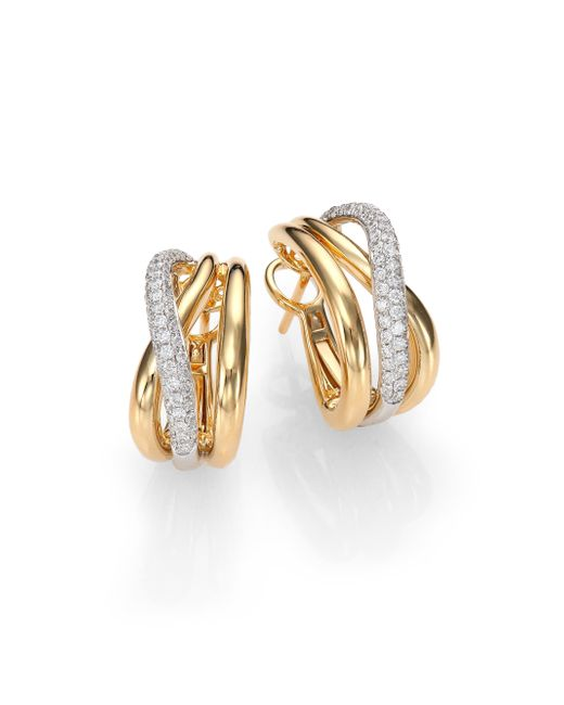Roberto Coin | Metallic Diamond, 18k White & Yellow Gold Crossover J-hoop Earrings | Lyst