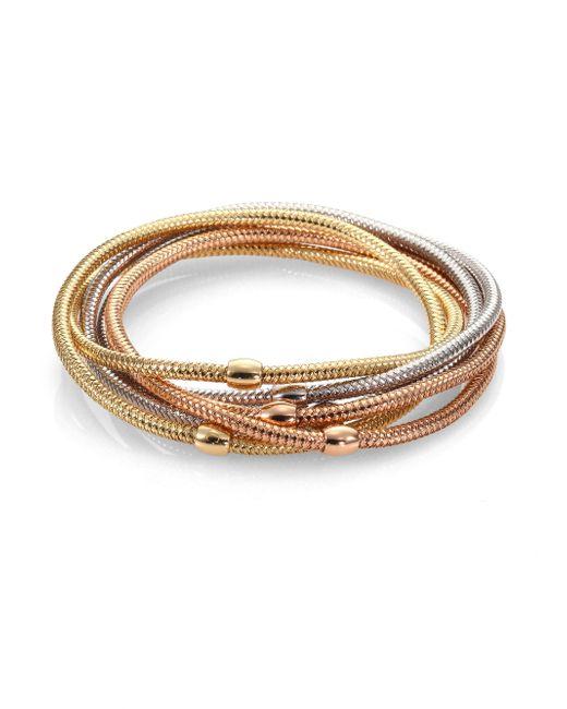 Roberto Coin | Metallic Primavera 18k White, Rose & Yellow Gold Six-row Bracelet | Lyst