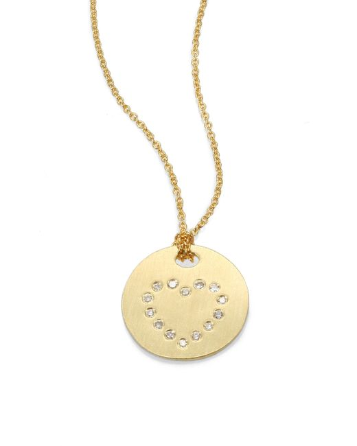 Roberto Coin | Metallic Tiny Treasures Diamond & 18k Yellow Gold Heart Disc Pendant Necklace | Lyst