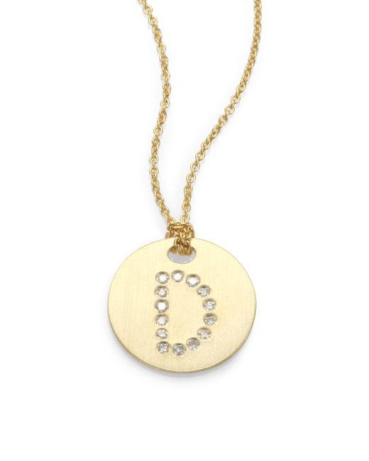 Roberto Coin | Metallic Tiny Treasures Diamond & 18k Yellow Gold Initial Pendant Necklace | Lyst