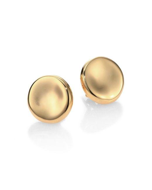 Roberto Coin | Metallic 18k Yellow Gold Round Medium Button Earrings | Lyst