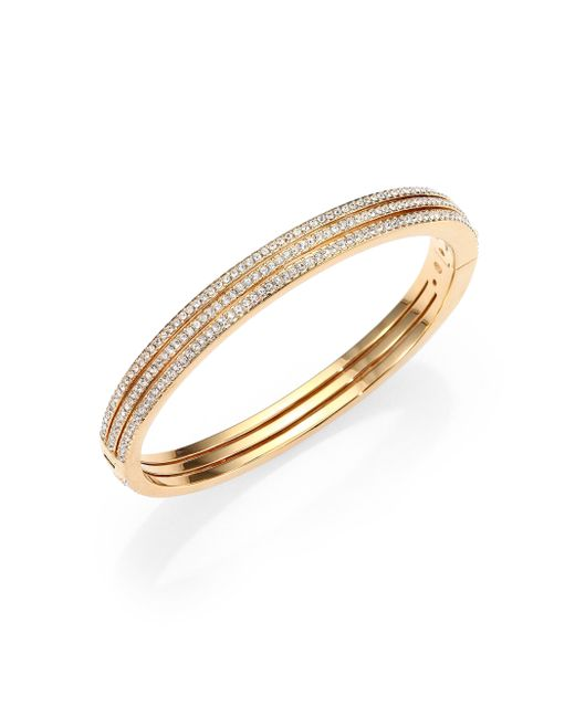 Adriana Orsini | Metallic Pave Crystal Three-row Bangle Bracelet/goldtone | Lyst