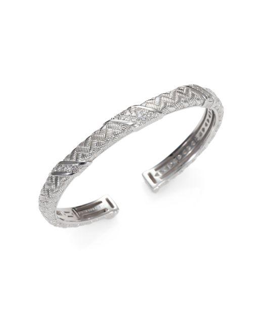 Judith Ripka | Metallic Mercer White Sapphire & Sterling Silver Berge Cuff Bracelet | Lyst