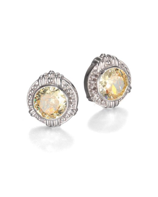 Judith Ripka | Yellow Canary Crystal & Sterling Silver Button Earrings | Lyst