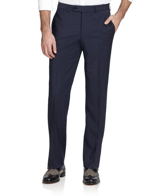 Saks Fifth Avenue | Blue Wool Micro Check Trousers for Men | Lyst