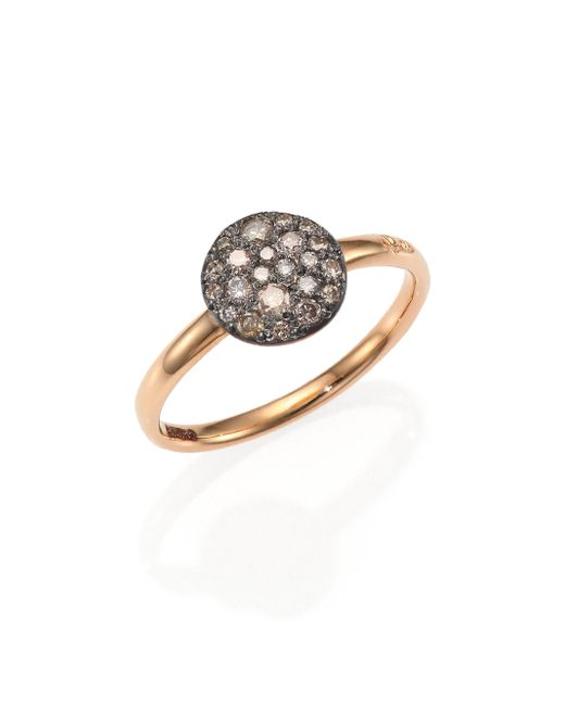 Pomellato | Pink Sabbia Brown Diamond & 18k Rose Gold Small Ring | Lyst