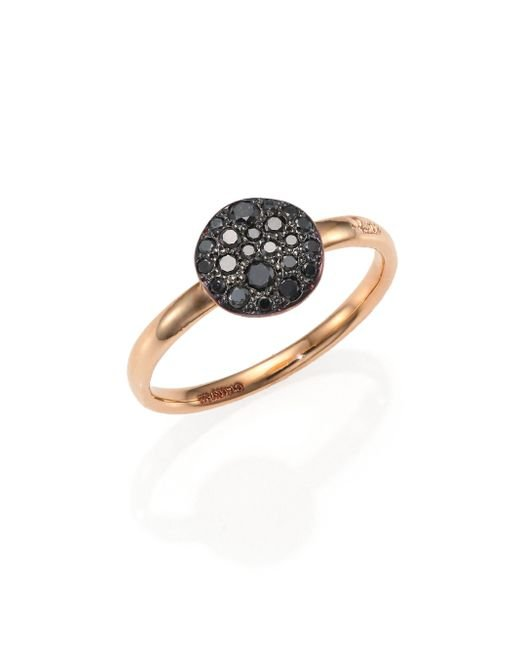 Pomellato | Pink Sabbia Black Diamond & 18k Rose Gold Small Ring | Lyst