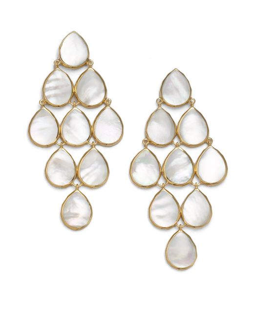 Ippolita | Metallic Polished Rock Candy Mother-of-pearl & 18k Yellow Gold Cascade Chandelier Earrings | Lyst