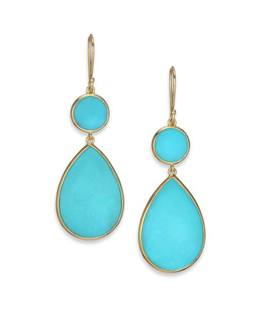 Ippolita | Blue Polished Rock Candy Turquoise & 18k Yellow Gold Snowman Drop Earrings | Lyst